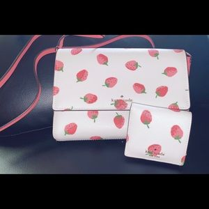 Kate spade strawberry crossbody and wallet